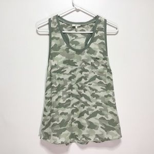 Joie Green Alicia Silk Camouflage Tank Top